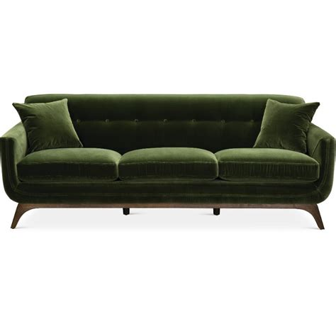 mid century modern olive green sofa falkirk rc willey