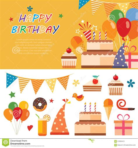 Flat Happy happy birthday flat icon stock vector image of flat 57650413
