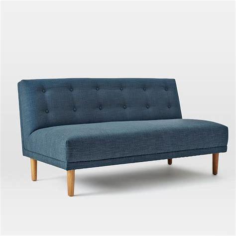 rounded retro curved sofa rounded retro armless sofa west elm
