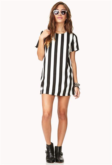 Lvfq Dress Stripe Black forever 21 vertical stripe dress in black lyst