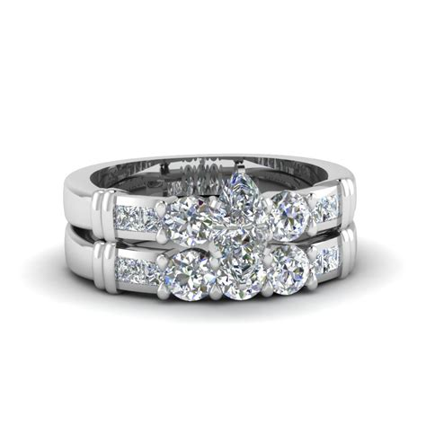 Wedding Rings Marquise Cut by Marquise Cut Channel Bar Set Wedding Ring Sets In