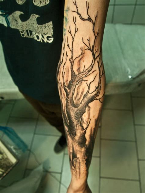 dry tattoo tree forearm tattooimages biz