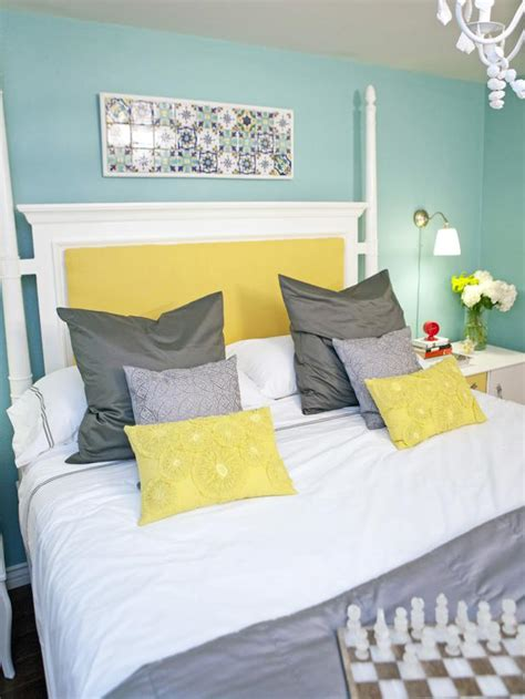 yellow gray and blue bedroom blue bedroom with white four poster bed hgtv