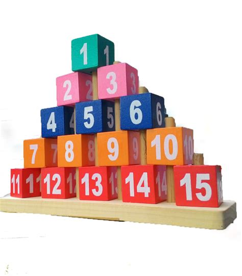 Balok Susun Angka Piramida piramida kubus angka mainan kayu