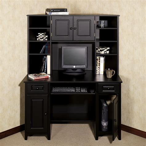 Black Corner Computer Desk With Hutch Black Desk Home Auston Corner Desk Hutch Set Black Set Of Two Room