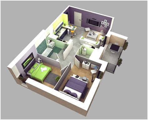 house plans with apartment 10 awesome two bedroom apartment 3d floor plans