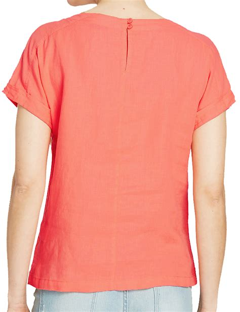Tab Sleeved Linen Top marks spencer collection plus size coral linen