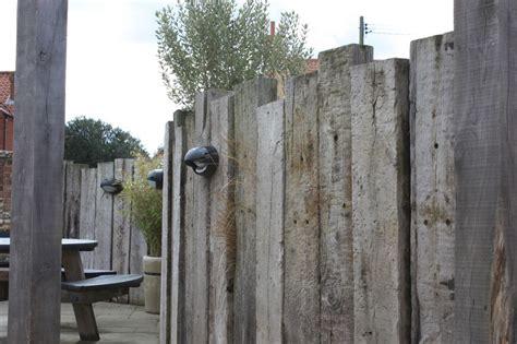 Railway Sleepers Fence by Railway Sleepers