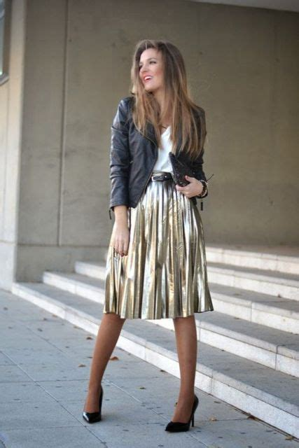 Midi Flower Punching Skirt 616 Rok Midi Rok Pesta Rok Berkualitas picture of with midi metallic skirt black heels and leather jacket