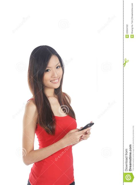 who is the asian girl in the mobile strike commercial asian girl using mobile phone stock photography image