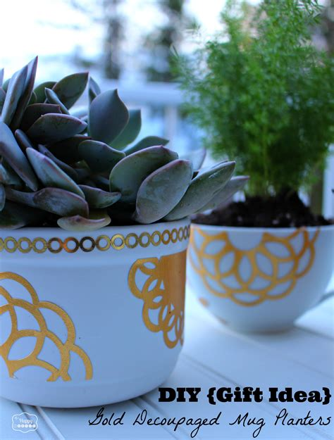 christmas gifts for work mates diy gift idea gold decoupaged succulent mug planters the happy housie