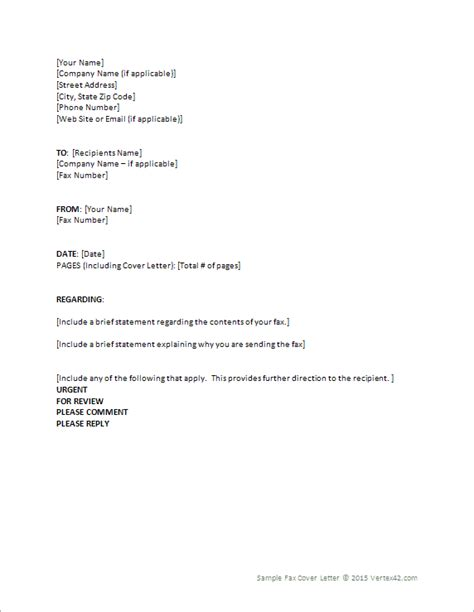 fax cover letter template  word