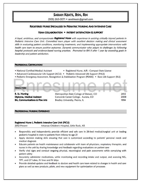 nursing resume sles new grad rn resume bag the web