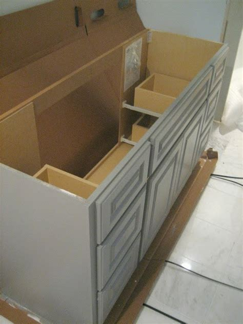 Diy Bathroom Furniture Diy Custom Gray Painted Bathroom Vanity From A Builder Grade Cabinet Hometalk