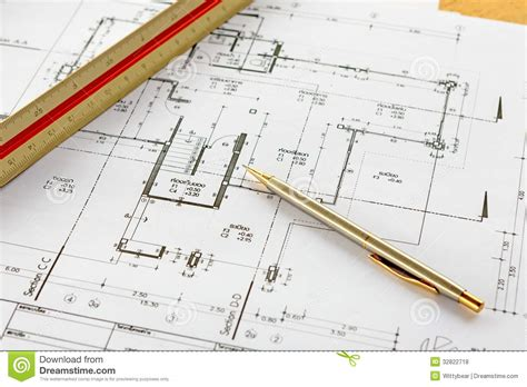 How To Measure A Floor by Architecture Drawings With Pencil And Ruler Stock Photo