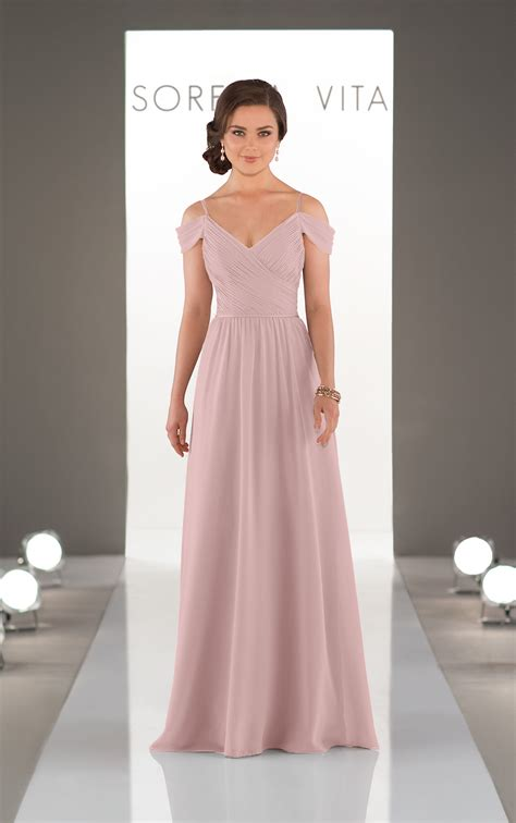 bridesmaid gowns romantic   shoulder gown