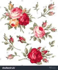 decorative vintage rose bud vector set stock vector
