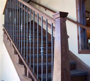 Wall Banister Rail Wood Railing With Wrought Iron Balusters Traditional