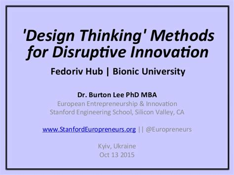 design thinking understand improve apply design thinking for disruptive innovation burton lee