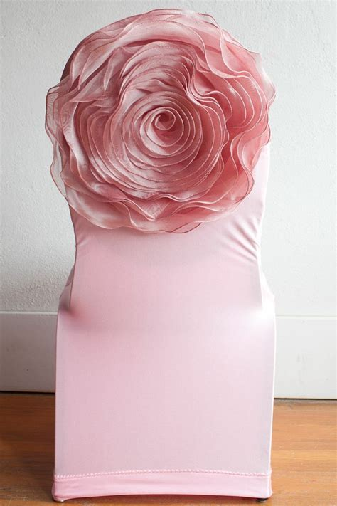 Pink Lycra Chair Cover / Pink Flower Chairback Decor www