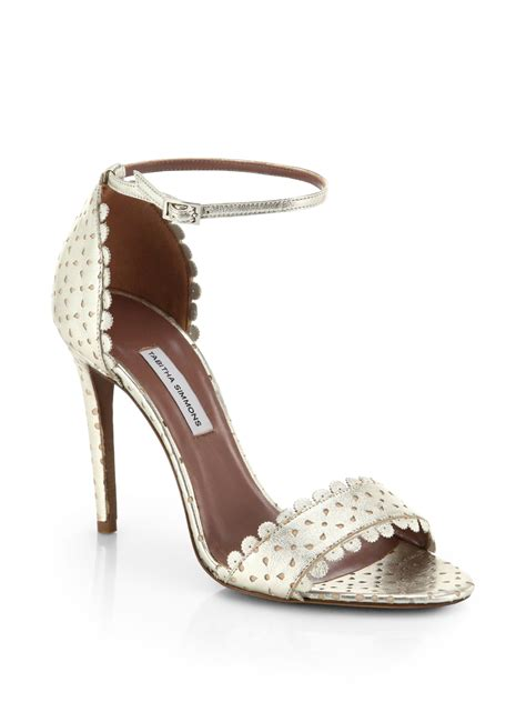 simmons sandals simmons metallic leather perforated leather ankle