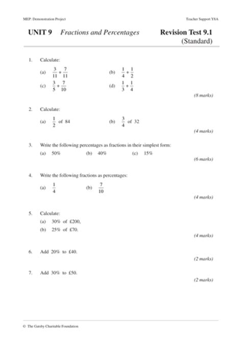 Ks3 Fractions And Percentages Year 8 Unit 9 By Cimt