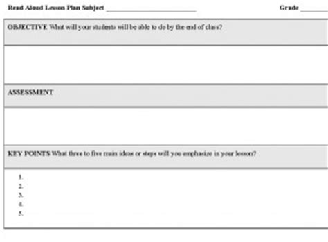 read aloud lesson plan template lesson plan for read aloud read aloud lesson plans for