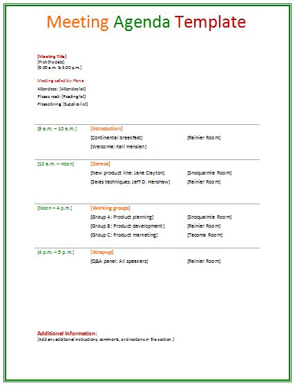 meeting agenda template word 2007 images