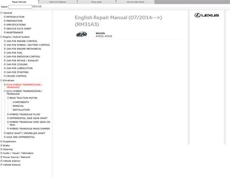 lexus maintenance manual lexus nx300h repair manual pdf repair manual cars repair