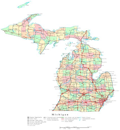 mi map michigan printable map