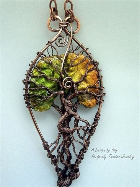 How To Make Handmade Tree - wire wrapped tree of pendant necklace lacquered leaf