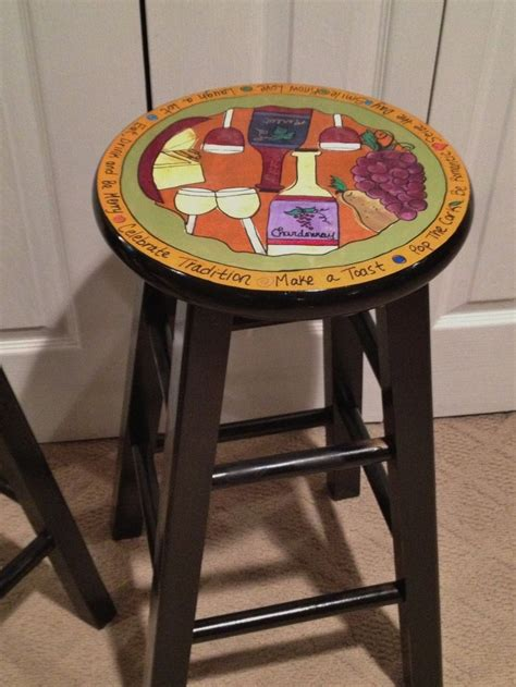 how to paint a bar stool hand crafted custom hand painted 29 quot wooden round top bar