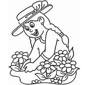 Planting Flowers Coloring Page  Free Printable Pages