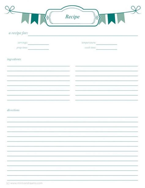 Pages Template Recipe Card by Meal Planning Binder Recipe Pages Recipe Cards Pages