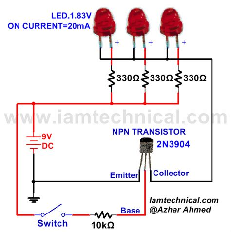 npn transistor with three led s as a switch iamtechnical
