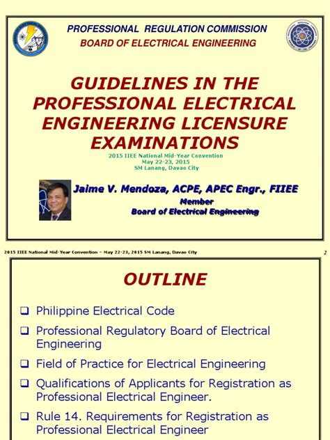 guidelines in the professional electrical engineer