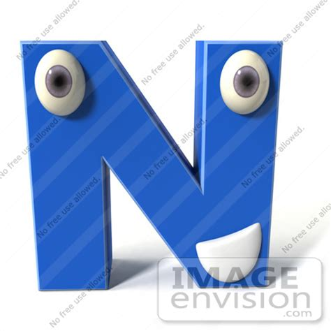 Character Letter N Royalty Free Rf Illustration Of A 3d Blue Alphabet Letter N Character With And A