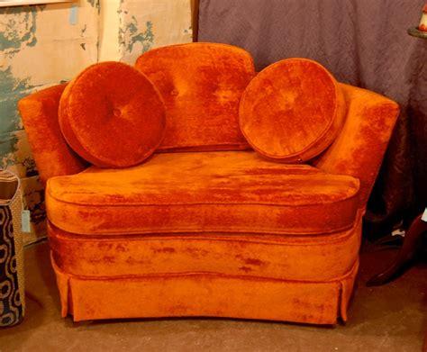 vintage orange velvet sofa orange velvet vintage sofa chair covet consign design