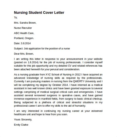 Cover Letter Template Student by Sle Nursing Cover Letter Template 8 Free Documents In Pdf Word