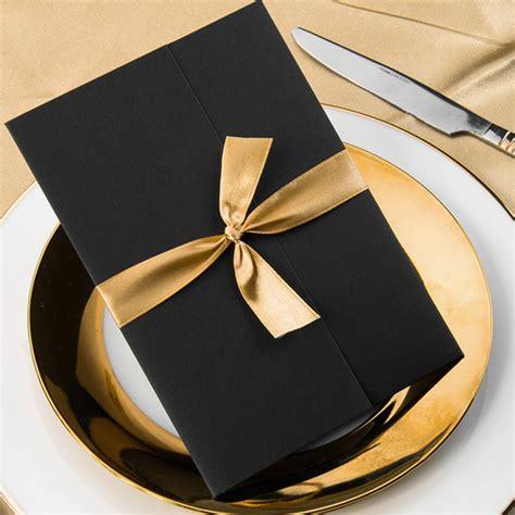 gold ribbon themes wedding invitations simple damask black pocket gold