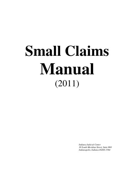 Small Claims Search Small Claims Manual Indiana Superior Ct