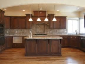 Brown Cabinets Kitchen Wood Floor Dark Cabinets Lighter Tan Or Brown Counter