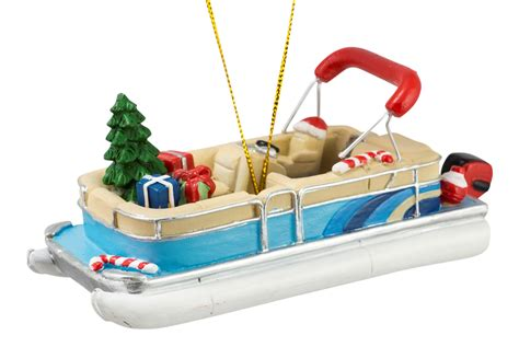 boat ornament pontoon boat with tree and gifts christmas holiday