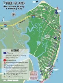 tybee island map tybee island recreation biking and parking map maplets