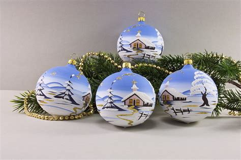Christbaumkugeln Selbst Bemalen by 4 Weihnachtskugeln 6 Cm Winterlandschaft Hellblau Aus Lauscha