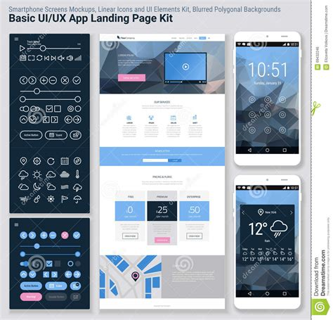 mobile app site template flat design responsive pixel ui mobile app and