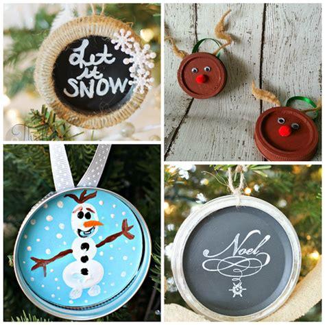 mason jar lid ornament ideas    christmas