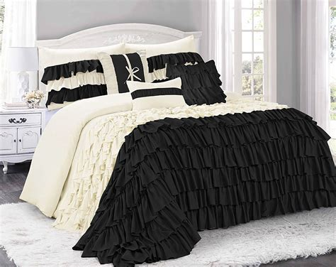black ruffled bedding sets bedding decor ideas