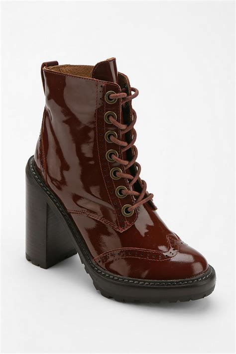 outfitters boots outfitters fork platform laceup boot in brown lyst
