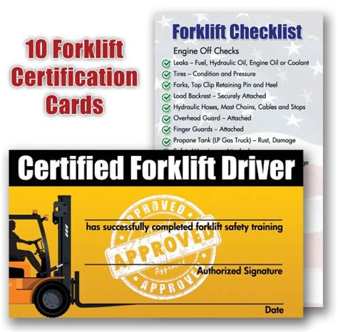 equipment certification card template forklift certification cards package of 10 new